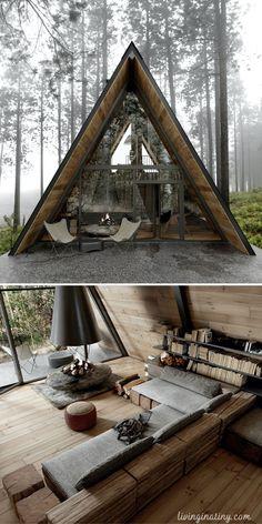 Tiny House Cabin, Tiny House Living, Tiny House Design, Cabin Homes, Cabin Design, Tiny Houses, A Frame House Plans, A Frame Cabin, Tiny House Plans