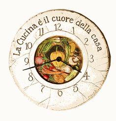 Italian Kitchen Decor Clock - La cucina e il cuore della casa (rough translation = the kitchen is the heart of the home)