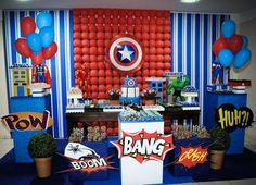 Like the balloon backdrop and pedestals with balloons plus superhero figures Avengers Birthday, Superhero Birthday Party, 6th Birthday Parties, Birthday Party Decorations, Party Themes, Captain America Party, Captain America Birthday, Hulk Party, Superman Party