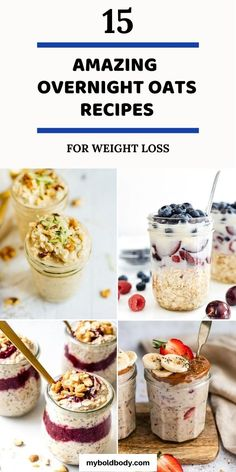 Quick Oat Recipes, Healthy Breakfast Recipes For Weight Loss, Healthy Breakfast Meal Prep, Easy Healthy Meal Prep, Healthy Oatmeal Recipes, Low Calorie Breakfast, Oats Recipes, Recipes For Breakfast, Low Calorie Overnight Oats