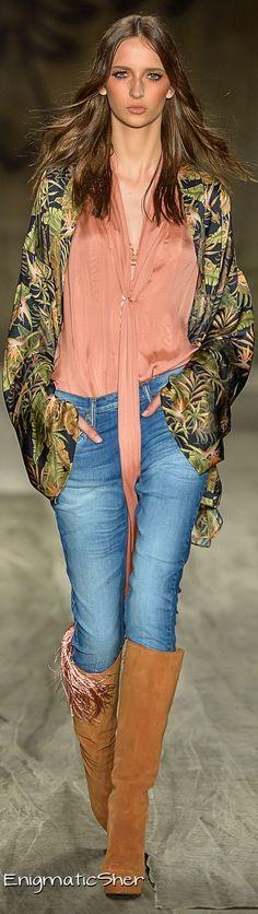 Cavalera Summer 2015 Ready-To-Wear Vintage Bohemian, Bohemian Style, Boho Chic, Couture 2015, Couture Fashion, Denim Fashion, Leather Fashion, Catwalk Fashion, Denim Style
