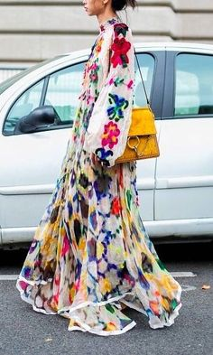 Maxi Dresses can be high fashion, and an make the perfect street-style look. Here are all the best maxi dresses for every body and fashion style. We love this floral embroidered cream maxi dress...