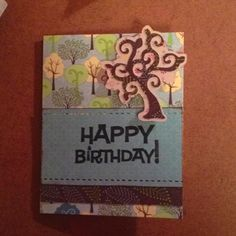 """6""""x4.25"""" birthday card. Used the Green Stack by DCWV and Cricut Alphabet Cartridge."""