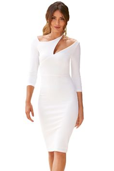 White Asymmetric Cutout Shoulder Bodycon Midi Dress Super style pencil dress for Sexy Dresses, Evening Dresses, Casual Dresses, Fashion Dresses, Summer Dresses, Work Dresses, Cutout Dress, Tube Dress, Pencil Dress