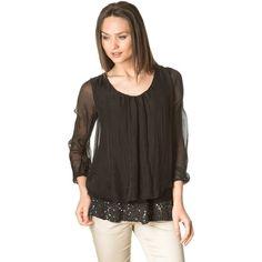 Black sequins silk blouse