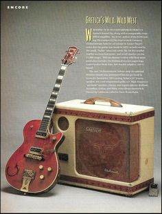Gretsch 1955 Round Up guitar 1956 Electromatic amp 8 x 11 pinup photo / article Vintage Electric Guitars, Vintage Guitars, Gretsch, Guitar Tips, Guitar Lessons, Dandy, Pinup, Guitar Magazine, Guitar Photography