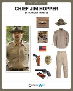 Things outfit Dress like Chief Jim Hopper Dress in uniform as Jim Hopper, portrayed by David Harbour, the Police Chief from the Netflix series Stranger Things. Hopper Stranger Things Costume, Stranger Things Theme, Stranger Things Halloween Costume, Stranger Things Funny, Stranger Things Season, Family Halloween Costumes, Halloween 2019, Halloween Party, Halloween Ideas