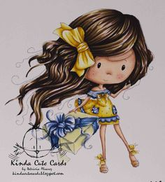 Kinda Cute Cards: Celebration card Skin (Copic markers): R20, E15, E13, E11, E00. Hair: EB8, EB5, GB10, EB2, PP3. Dress and bows: GB7, CT4, LY3, LY2, TB8, TB4, TB2. Wrapping paper: IG5, IG3, LY2.
