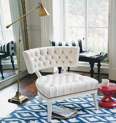 Vignette ~ Tufted klismos chair + brass lamp + ikat rug = cleverly conceived elegance