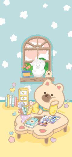 Cute Desktop Wallpaper, Colorful Wallpaper, Cartoon Wallpaper, Cute Wallpapers, Kawaii Background, Bear Art, Cute Bears, Fictional Characters, Wallpapers