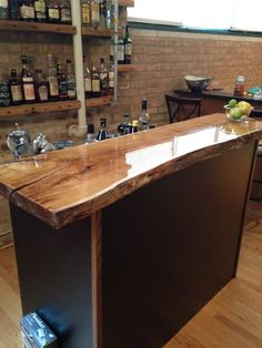 Home Bar - Really like the wood bar top Mini Bars, Diy Bar, Live Edge Bar, Wood Bar Top, Home Bar Decor, Home Bar Designs, Bar Furniture, Furniture Stores, Cheap Furniture
