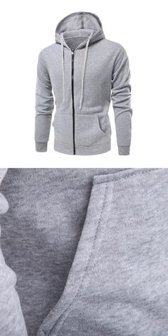cbd0048c7b8 Fashion style men cotton solid color long sleeves casual sport zipper  hoodie coat  man