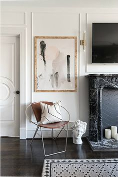 Parisian chic interiors in black and white. How to style your home like a Parisian. Unique makeovers from the One Room Challenge. Shannon Claire Interiors