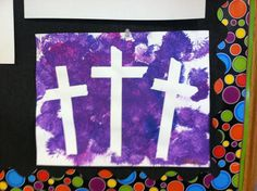 3 crosses Easter preschool or sunday school craft. Make 3 crosses with masking tape, have children paint the whole page, allow to dry and then peel off the tape to reveal this Easter treasure.