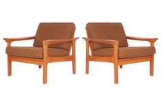Mid Century Danish Modern Teak Lounge Chairs in the Manner of Peter Hvidt 2