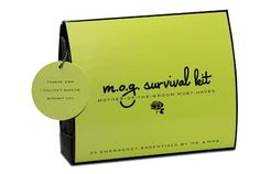 """Behind every cool groom is a cool M.O.G. (or mother-of-the-groom). So give moms peace of mind with the M.O.G. Survival Kit by Ms. & Mrs. This kit features a mother lode (24, to be exact) of must-haves, including tissues and waterproof mascara to keep teary eyes intact, and extra wedding bands for the forgetful groom. The matching gift tag reads, """"Th..."""