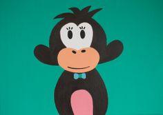 Kinderkamerkunst. Handgemaakt kinderschilderij aap 30x40. Achtergrond :groen kinderschilderijen www.byphilomena.nl gemaakt door: philomena. Doek: Canvas.