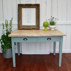 Solid Wood Two Drawer Table by Restored2bloved on Etsy