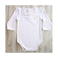 Body branco manga longa com frufru Baby Classic