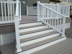 two tone porch | Love this- two tone opaque deck stain in gray and white!