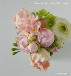 Happy First Day of Spring...sugar flowers in a vase by Petalsweet.