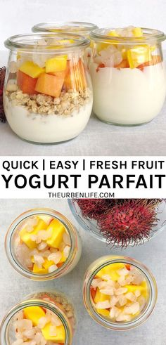 Try out this quick, easy, and healthy fresh fruit yogurt parfait recipe! Layer dairy-free yogurt with crunchy granola and fresh rambutan, mango, and papaya. Fruit And Yogurt Parfait, Vegan Breakfast Recipes, Vegetarian Recipes, Healthy Recipes, Fresh Fruit, Dairy Free Yogurt, Healthy Family Meals, Lactose Free, Egg Free