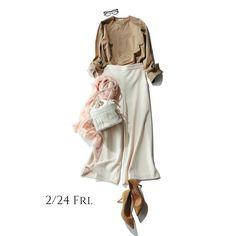いつものシャツ&パンツコーデも、衿なし&ワイドを選べば一気に洗練された今どきシルエットに  ベージュ 白 ベビーピンク ワイドパンツ