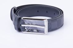 Auth LOUIS VUITTON Damier Graphite Taiga Leather Belt 95 #LouisVuitton