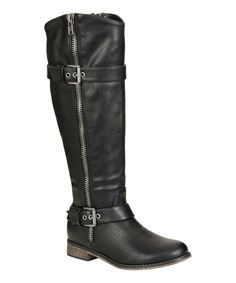 Another great find on #zulily! Black Double-Buckle Rider Boot by Breckelle's #zulilyfinds