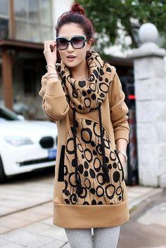 Ladylike Casual Long Sleeve Cotton Hoody