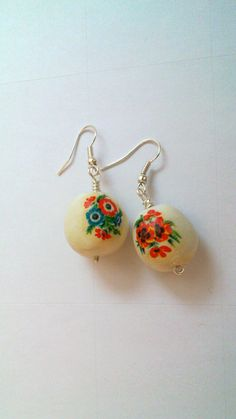 Recycled russian style earrings. Vintage.