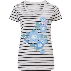 7758a8b2095191 Liberty London for Uniqlo White Striped Betsy Blue Print Graphic T-Shirt
