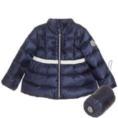 Baby Girls Navy Blue Down Padded 'Leila' Coat, Moncler, Girl