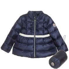 Baby Girls Navy Blue Down Padded 'Leila' Coat, Moncler, Girl