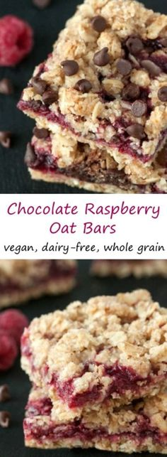 A layer of raspberries and chocolate is sandwiched between a streusel-like crust and topping in these vegan, 100% whole grain and dairy-free chocolate raspberry oat bars!