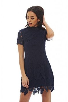 AX Paris Womens High Necked Lace DressNavy Size4 >>> You can find out more details at the link of the image.