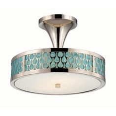 Raindrop Polished Nickel Two-Light LED Semi-Flush Mount w/ White Glass and Removable Aquamarine Insert