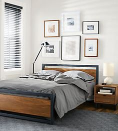 Room & Board - Piper Wood Bed in Natural Steel - Modern & Contemporary Beds - Modern Bedroom Furniture Bedroom Bed, Bedroom Decor, Men Bedroom, Master Bedroom, Male Bedroom Design, Grey Bedroom Walls, Master Suite, Mens Room Decor, Bedroom Yellow