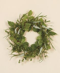 """This 18"""" Mixed Greens Wreath is perfect! #zulilyfinds"""