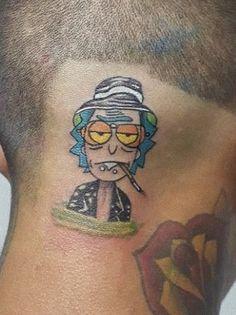 Best 40 Rick and Morty Fan Tattoos Fan Tattoo, Tattoo You, Ricks Tattoo, Daniel Tattoo, Rick And Morty Tattoo, Cartoon Tattoos, Music Station, Music Magazines, Tattoo Designs