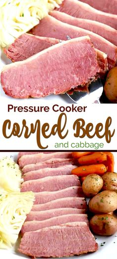 Pressure Cooker Corned Beef - tender and juicy beer-braised Corned Beef cooked in the instant pot in a fraction of the time. This mouthwatering Corned Beef and Cabbage with potatoes and carrots is super flavorful and easy to make! Pressure Cooker Brisket, Pressure Cooker Cabbage, Instant Pot Pressure Cooker, Pressure Cooker Recipes, Pressure Cooking, Cooking Corned Beef, Corned Beef Brisket, Corned Beef Recipes, Ground Beef Recipes