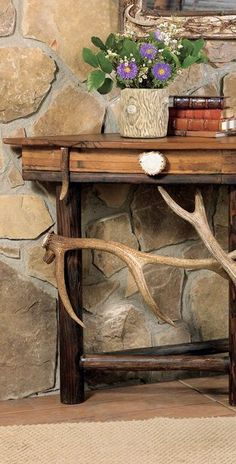 Handcrafted from oak with authentic, naturally-shed elk antlers interwoven along the bottom, the one-of-a-kind Antler Demi Lune Table is an eye-catching addition to your entry or hallway. Made in the USA. Measures x x Log Cabin Furniture, Rustic Wood Furniture, Western Furniture, Furniture Ideas, Furniture Design, Rustic Cabin Decor, Lodge Decor, Rustic Cabins, Log Home Decorating