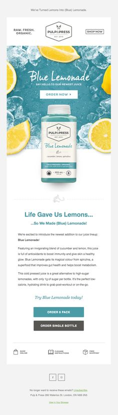 Introducing Our Newest Juice: Blue Lemonade 💙🍋 Best Email, Email Templates, Email Design, Superfood, Email Marketing, Lemonade, Juice, Beverages, Blue