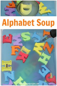 Alphabet Soup Letter Activity for Kids! Ways to learn and play in the post. Teaching The Alphabet, Learning Letters, Fun Learning, Learning Tools, Alphabet Activities, Literacy Activities, Preschool Alphabet, Kindergarten Literacy, Early Literacy