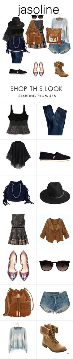 """""""jasoline's school outfits"""" by tamiiasmith ❤ liked on Polyvore featuring Bebe, 7 For All Mankind, Relaxfeel, TOMS, BeckSöndergaard, Ray-Ban, Vince Camuto, rag & bone, Nature Breeze and T-shirt & Jeans"""