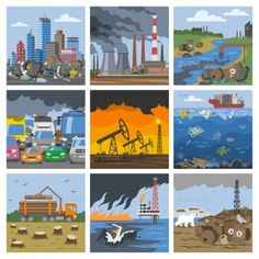 Buy Pollution Environment Vector by pantimetrok on GraphicRiver. Pollution environment vector polluted air smog or toxic smoke of industrial city illustration cityscape set of enviro. Pollution Environment, Environmental Pollution, Air Pollution, Environmental Change, Drawing For Kids, Art For Kids, Pollution Pictures, Global Warming Project, Picture Composition