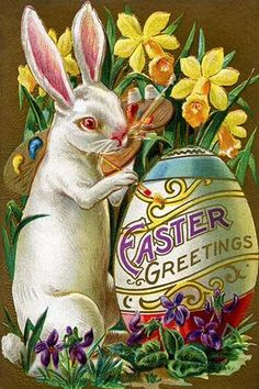 An Easter bunny rabbit paints an Easter Greetings egg within a flower garden.                                                                                                                                                                                 More