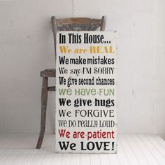 Home Decor Family Rules In This House We Are Real, We Do Really Loud Large Size