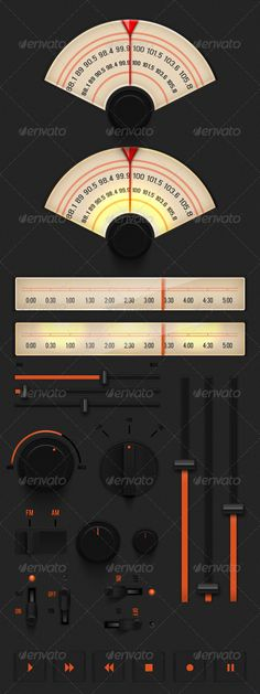 Dark Analog UI Set - GraphicRiver Item for Sale