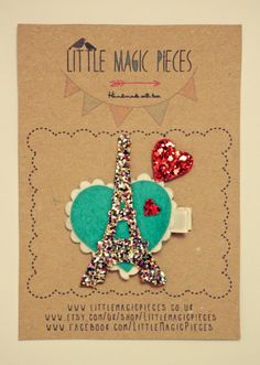 Valentine Paris Eiffel Tower Heart Hair Clip/ by LittleMagicPieces, £8.47 on Etsy.